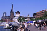 Europe, DEU, Germany, Northrhine Westphalia, Rhineland, Lower Rhine, Dusseldorf, Old town, Castle tower, Lambertuschurch, Promenade at the river Rhine....[ For each utilisation of my images my General Terms and Conditions are mandatory. Usage only against use message and proof. Download of my General Terms and Conditions under http://www.image-box.com or ask for sending. A clearance before usage is necessary...Material is subject to royalties. Each utilisation of my images is subject to a fee in accordance to the present valid MFM-List...Contact | archive@image-box.com | www.image-box.com ]