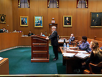 Georgia's Supreme Court in session during The State vs. Buckner. In 2007, Mr Buckner was indicted for the kidnapping, molestation, and murder of a 12 year old girl. Four years later, he had not yet been brought to trial. He filed a motion to dismiss his indictment, arguing that he had been denied his constitutional right to a speedy trial. The court ruled in favour of Mr Buckner and dismissed the indictment. The State (represented by the woman in the blue shirt) appealed but the Supreme Court affirmed the judgment. The man speaking is Mr Buckner's attorney.