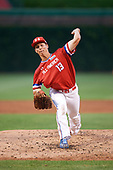 Ben Harris (13) of Milton High School in Alpharetta, Georgia delivers a pitch during the Under Armour All-American Game presented by Baseball Factory on July 29, 2017 at Wrigley Field in Chicago, Illinois.  (Mike Janes/Four Seam Images)