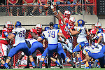 LINCOLN, NE - SEPTEMBER 21, 2013:  Nebraska tries to block the extra point attempt by South Dakota State during their college football game Saturday at Memorial Stadium in Liincoln, NE.  (Photo by Dick Carlson/Inertia)