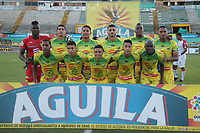 NEIVA - COLOMBIA, 05-07-2015: Jugadores del Huila posan para una foto previo al partido entre Atlético Huila y Once Caldas por la fecha 5 de la Liga Águila II 2018 jugado en el estadio Guillermo Plazas Alcid de la ciudad de Neiva. / Players of Huila pose to a photo prior the match between Atletico Huila and Once Caldas for the date 5 of the Aguila League II 2018 played at Guillermo Plazas Alcid in Neiva city. VizzorImage / Sergio Reyes / Cont