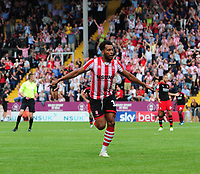 Lincoln City's Matt Green celebrates scoring his sides fourth goal<br /> <br /> Photographer Chris Vaughan/CameraSport<br /> <br /> The EFL Sky Bet League Two - Lincoln City v Swindon Town - Saturday 11th August 2018 - Sincil Bank - Lincoln<br /> <br /> World Copyright &copy; 2018 CameraSport. All rights reserved. 43 Linden Ave. Countesthorpe. Leicester. England. LE8 5PG - Tel: +44 (0) 116 277 4147 - admin@camerasport.com - www.camerasport.com