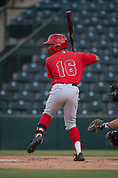 AZL Angels left fielder Datren Bray (16) at bat during an Arizona League game against the AZL Diamondbacks at Tempe Diablo Stadium on June 27, 2018 in Tempe, Arizona. The AZL Angels defeated the AZL Diamondbacks 5-3. (Zachary Lucy/Four Seam Images)
