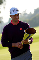Adam Scott (AUS) admires the trophy after the final round of the The Genesis Invitational, Riviera Country Club, Pacific Palisades, Los Angeles, USA. 16/02/2020<br /> Picture: Golffile | Phil Inglis<br /> <br /> <br /> All photo usage must carry mandatory copyright credit (© Golffile | Phil Inglis)