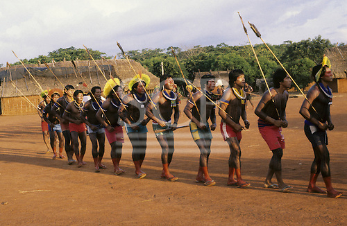 A-Ukre village, Brazil. Kayapo Indians doing a hunting dance ceremony; Xingu Indigenous Area, Para state.