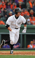 Third baseman Chase Vergason (16) of the South Carolina Gamecocks in a game against the Clemson Tigers on Saturday, March 2, 2013, at Fluor Field at the West End in Greenville, South Carolina. Clemson won the Reedy River Rivalry game 6-3. (Tom Priddy/Four Seam Images)