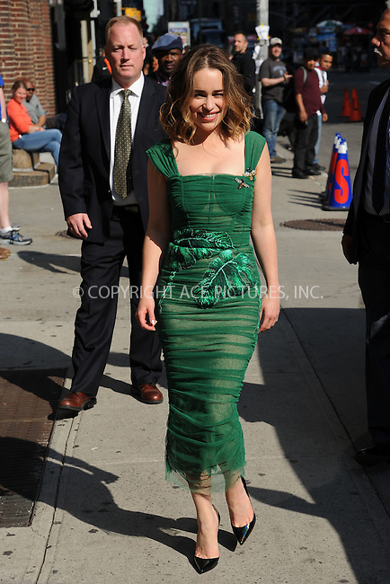 WWW.ACEPIXS.COM<br /> May 23, 2016 New York City<br /> <br /> Emilia Clarke arriving to tape an appearance on 'The Late Show with Stephen Colbert' on May 23, 2016 in New York City.<br /> <br /> Credit: Kristin Callahan/ACE Pictures<br /> <br /> Tel: (646) 769 0430<br /> e-mail: info@acepixs.com