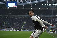Cristiano Ronaldo of Juventus celebrates after scoring a goal <br /> Torino 6-1-2020 Juventus Stadium <br /> Football Serie A 2019/2020 <br /> Juventus FC - Cagliari Calcio <br /> Photo Federico Tardito / Insidefoto