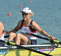 Banyoles, SPAIN, GBR W4X, Bow {R} Katie GREVES,  at the start of the Race for lanes in the Women's quadruple sculls  FISA World Cup Rd 1. Lake Banyoles  Saturday, 30/05/2009   [Mandatory Credit. Peter Spurrier/Intersport Images]