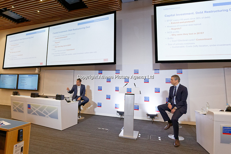 Pictured: Alexis Tsipras (L) addresses delegates. Wednesday 27 June 2018<br /> Re: Greek Prime Minister Alexis Tsipras gives a speech at the Sammy Ofer building of the London Business School in London, UK