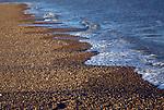 Waves forming cusps on shingle beach, Bawdsey, Suffolk, England