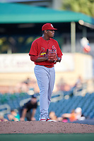 Palm Beach Cardinals relief pitcher Yeison Medina (53) gets ready to deliver a pitch during a game against the Jupiter Hammerheads on August 4, 2018 at Roger Dean Chevrolet Stadium in Jupiter, Florida.  Palm Beach defeated Jupiter 7-6.  (Mike Janes/Four Seam Images)