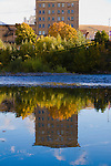 The Wilma building in downtown Missoula, Montana is reflected in the Clark Fork River
