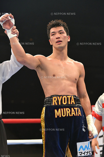 Ryota Murata (JPN),<br /> DECEMBER 6, 2013 - Boxing :<br /> Ryota Murata of Japan has his arm raised by the referee after winning the 8R 161 pounds weight bout at Ryogoku Kokugikan in Tokyo, Japan. (Photo by Hiroaki Yamaguchi/AFLO)