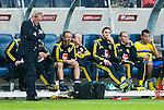 Solna 2014-10-09 Fotboll EM-kval , Sverige - Ryssland :  <br /> Sveriges Zlatan Ibrahimovic ser fundersam ut p&aring; avbytarb&auml;nken under matchen mellan Sverige och Ryssland<br /> (Photo: Kenta J&ouml;nsson) Keywords:  Sweden Sverige Friends Arena EM Kval EM-kval UEFA Euro European 2016 Qualifier Qualifiers Qualifying Group Grupp G Ryssland Russia fundersam fundera t&auml;nka analysera