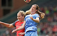 Portland, OR - Saturday April 29, 2017: Kathleen Naughton, Lindsey Horan during a regular season National Women's Soccer League (NWSL) match between the Portland Thorns FC and the Chicago Red Stars at Providence Park.