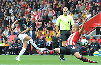 Burnley's Matthew Lowton shoots<br /> <br /> Photographer Kevin Barnes/CameraSport<br /> <br /> The Premier League - Southampton v Burnley - Sunday August 12th 2018 - St Mary's Stadium - Southampton<br /> <br /> World Copyright &copy; 2018 CameraSport. All rights reserved. 43 Linden Ave. Countesthorpe. Leicester. England. LE8 5PG - Tel: +44 (0) 116 277 4147 - admin@camerasport.com - www.camerasport.com