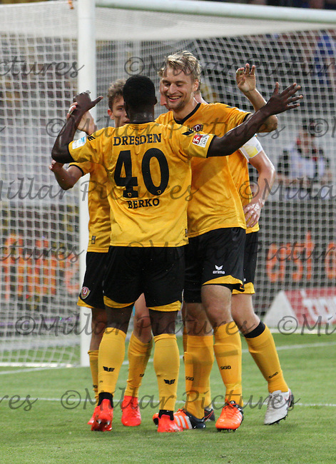 Dynamo Dresden players thank Erich Berko for the cross for the opening goal in the Dynamo Dresden v Everton match in the Bundeswehr Karriere Cup Dresden 2016 played at the DDV Stadion, Dresden on 29.7.16.