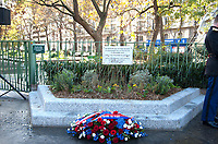 November 13 2017, PARIS FRANCE<br /> the President of France Emmanuel Macron<br /> honors the victims of the 13 november 2015<br /> in the scenes of attacks. A Memorial Plaque<br /> in memory of victims of the restaurant la Bonne Bière. # HOMMAGE AUX VICTIMES DES ATTENTATS DU 13 NOVEMBRE 2015