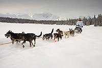 John Barrons team mushes near Finger Lake Chkpt 2006 Iditarod Finger Lake Alaska