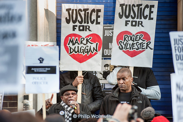 Father of Roger Sylvester, who died in police custody in Tottenham exactly 15 years ago, and community leader Stafford Scott.  No Justice, No Peace vigil outside Tottenham Police Station in support of the family of Mark Duggan, whose killing by armed police sparked the 2011 riots, and in memory of others who have died during arrest or in poice custody.