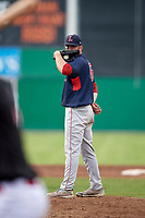 Lowell Spinners starting pitcher Chris Machamer (38) looks in for the sign during a game against the Batavia Muckdogs on July 16, 2018 at Dwyer Stadium in Batavia, New York.  Lowell defeated Batavia 4-3.  (Mike Janes/Four Seam Images)