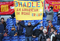 ROMA, Italy: December 08, 2013: As Roma beats AC Fiorentina 2-1 during the Serie A match played in the Olimpico Stadium. In the photo a fan of Michael Bradley