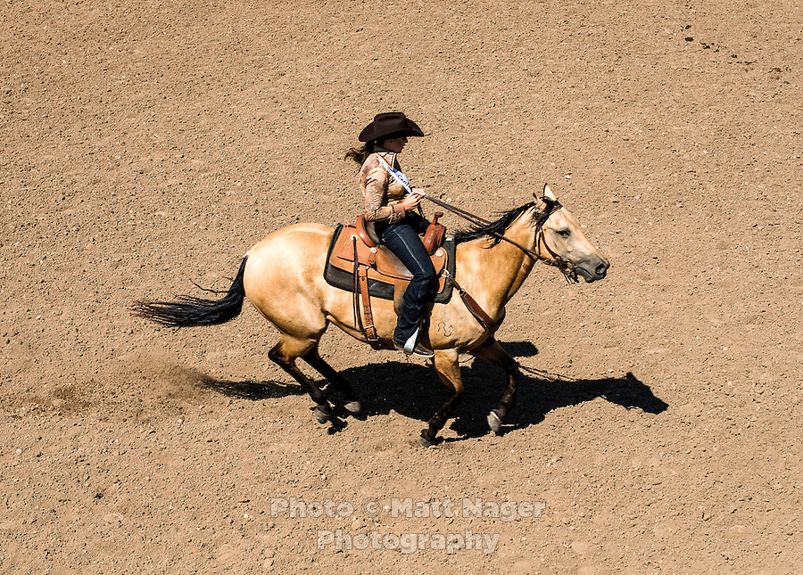 Miss Rodeo Colorado 2016 contestant Kelsie Winslow during the horsemanship competition at the Miss Rodeo Queen Colorado competition at the Greely Stampede in Greely, Colorado, July 1, 2015.<br /> <br /> Photo by Matt Nager