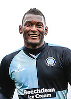 Aaron Pierre of Wycombe Wanderers during the Sky Bet League 2 match between Dagenham and Redbridge and Wycombe Wanderers at the London Borough of Barking and Dagenham Stadium, London, England on 28 March 2015. Photo by Andy Rowland.