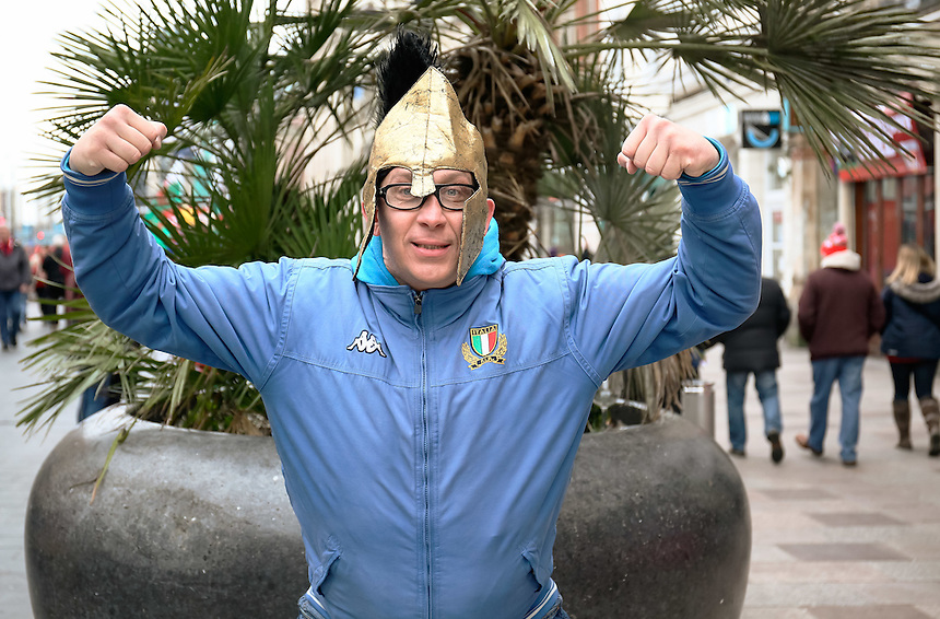 An Italy fan enjoying the pre match atmosphere<br /> <br /> Photographer Simon King/CameraSport<br /> <br /> International Rugby Union - RBS 6 Nations Championships 2016 - Wales v Italy - Saturday 19th March 2016 - Principality Stadium, Cardiff <br /> <br /> &copy; CameraSport - 43 Linden Ave. Countesthorpe. Leicester. England. LE8 5PG - Tel: +44 (0) 116 277 4147 - admin@camerasport.com - www.camerasport.com