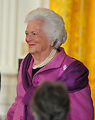 """Former first lady Barbara Bush arrives for the ceremont where United States President Barack Obama and first lady Michelle Obama honor recipients of the 2010 Medal of Freedom, """"the Nation's highest civilian honor presented to individuals who have made especially meritorious contributions to the security or national interests of the United States, to world peace, or to cultural or other significant public or private endeavors"""", in a ceremony in the East Room of the White House in Washington, D.C. on Tuesday, February 15, 2011..Credit: Ron Sachs / CNP"""