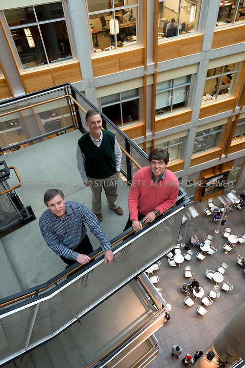 5/4/2012--Seattle, WA, USA..left to right: Oren Etzioni, Hank Levy and Ed Lazowska posing in the Paul Allen Center for Computer Science & Engineering at the main campus in Seattle, WASH...©2012 Stuart Isett. All rights reserved.