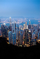 The stunning view from Victoria Peak on Hong Kong Island. The touristy Peak Tower attracts nearly 7 million visitors a year. It was renovated in 2006 to include new shops, restaurants, and attractions like Madame Tussaud's waxworks and EA Experience for interactive gamers.