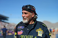 Oct. 27, 2012; Las Vegas, NV, USA: Stunt performer Robbie Knievel in attendance during NHRA qualifying for the Big O Tires Nationals at The Strip in Las Vegas. Mandatory Credit: Mark J. Rebilas-