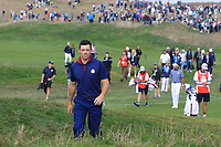 Rory McIlroy (Team Europe) on the 3rd during the Friday Foursomes at the Ryder Cup, Le Golf National, Ile-de-France, France. 28/09/2018.<br /> Picture Thos Caffrey / Golffile.ie<br /> <br /> All photo usage must carry mandatory copyright credit (© Golffile | Thos Caffrey)