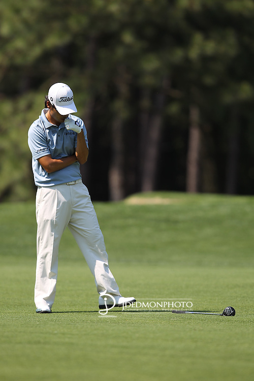 May 8,2011 - Kevin Na reacts to his second shot on ten.  Lucas Glover wins the tournament in sudden death over Jonathan Byrd at Quail Hollow Country Club,Charlotte,NC.