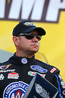 Sep 13, 2013; Charlotte, NC, USA; NHRA funny car driver Robert Hight during qualifying for the Carolina Nationals at zMax Dragway. Mandatory Credit: Mark J. Rebilas-