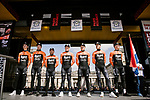 Roompot-Charles at the team presentations in Compiegne before Paris-Roubaix 2019, Compiegne, France. 13th April 2019<br /> Picture: ASO/Pauline Ballet | Cyclefile<br /> All photos usage must carry mandatory copyright credit (&copy; Cyclefile | ASO/Pauline Ballet)