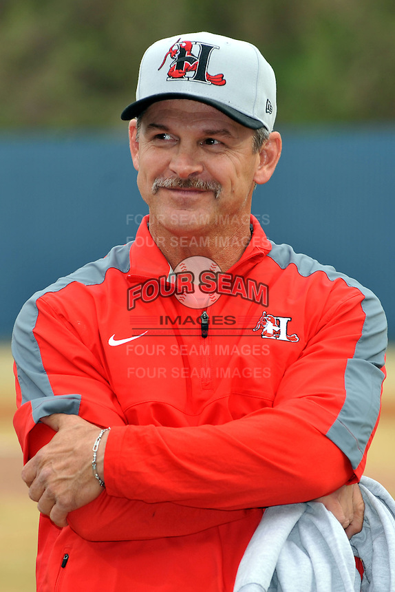 Former Asheville Tourists manager and current Texas Rangers roving instructor Joe Mikulik before a game between the Hickory Crawdads and the Asheville Tourists at McCormick Field on April 17, 2013 in Asheville, North Carolina. The Crawdads won the game 6-5. (Tony Farlow/Four Seam Images).