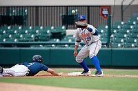 St. Lucie Mets first baseman Jhoan Urena (24) waits to receive a pick off throw during a game against the Lakeland Flying Tigers on June 11, 2017 at Joker Marchant Stadium in Lakeland, Florida.  Lakeland defeated St. Lucie 1-0.  (Mike Janes/Four Seam Images)