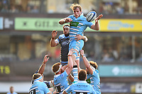 Jonny Gray of Glasgow Warriors in action during the Heineken Champions Cup Round 2 match between the Cardiff Blues and Glasgow Warriors at Cardiff Arms Park Stadium in Cardiff, Wales, UK. Sunday 21 October 2018