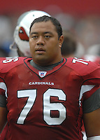 Aug 18, 2007; Glendale, AZ, USA; Arizona Cardinals guard Deuce Lutui (76) against the Houston Texans at University of Phoenix Stadium. Mandatory Credit: Mark J. Rebilas-US PRESSWIRE Copyright © 2007 Mark J. Rebilas