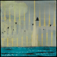 Mixed media photography and map with birds over blue ocean.