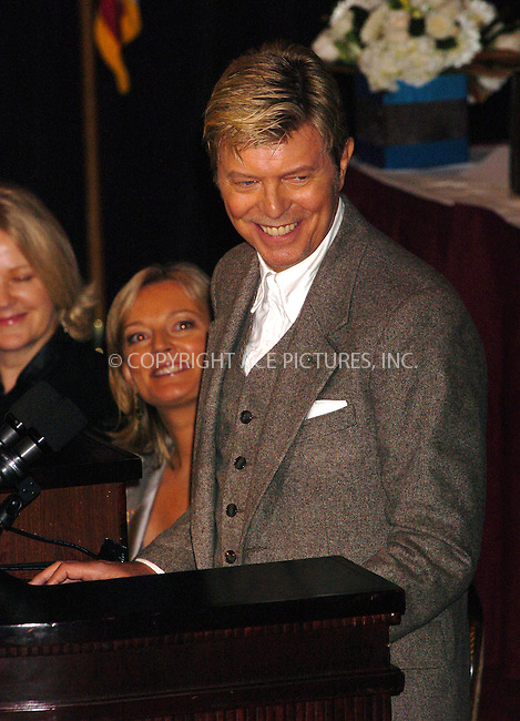 WWW.ACEPIXS.COM . . . . .  ....NEW YORK, OCTOBER 7, 2005....David Bowie at the Cosmetic Executive Women 2005 Achiever Awards Luncheon held at the Waldorf Astoria Hotel.....Please byline: AJ Sokalner - ACE PICTURES..... *** ***..Ace Pictures, Inc:  ..Craig Ashby (212) 243-8787..e-mail: picturedesk@acepixs.com..web: http://www.acepixs.com