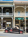 Horseless Carriage Car Club visits downtown Main Street, Sutter Creek, Calif. during spring in Amador County.<br /> <br /> 2017 Mother Lode Nickel Era Registry Tour