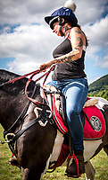 A local tattooed rider getting ready to race.