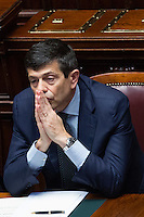 Maurizio Lupi<br /> Roma 20-03-2015 Camera. Il Ministro per le infrastrutture e i Trasporti si dimette dopo l'informativa alla Camera, a seguito dello scandalo a seguito di alcune intercettazioni agli atti dell'inchiesta sulle grandi opere.<br /> Minister of Transport gives his resignation after the scandal of the big contracts<br /> Photo Samantha Zucchi Insidefoto