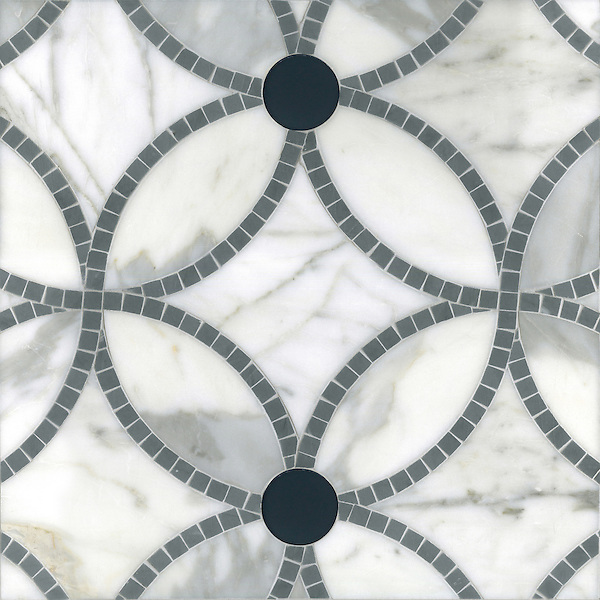 esferas a handmade mosaic shown in honed calacatta polished bardiglio and power gray glass