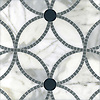 Esferas, a handmade mosaic shown in honed Calacatta, polished Bardiglio and Power Gray Serenity glass, is part of the Parterre Collection by Paul Schatz for New Ravenna.