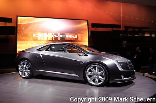 12 January 2009: The Cadillac Converj plug-in hybrid concept car at the 2009 North American International Auto Show in Detroit Michigan USA.